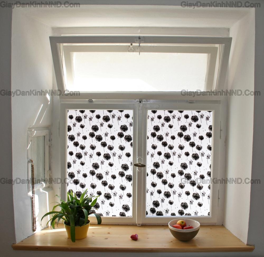 Mẫu dán kính hình bông bồ công anh màu đen trang trí cho cửa sổ đẹp vô cùng ấn tượng